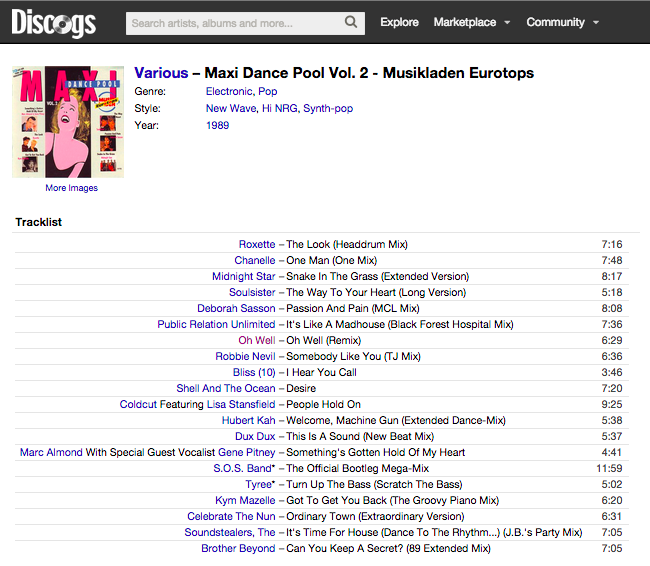 Discogs Master Release Page