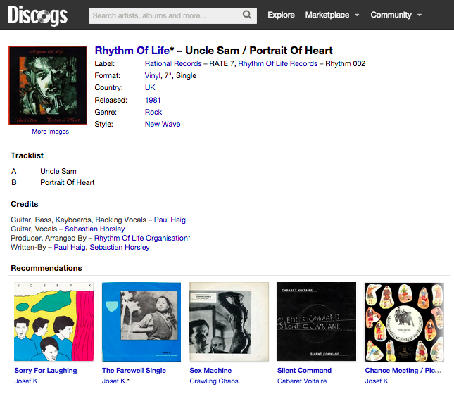 Discogs Uncle Sam Page