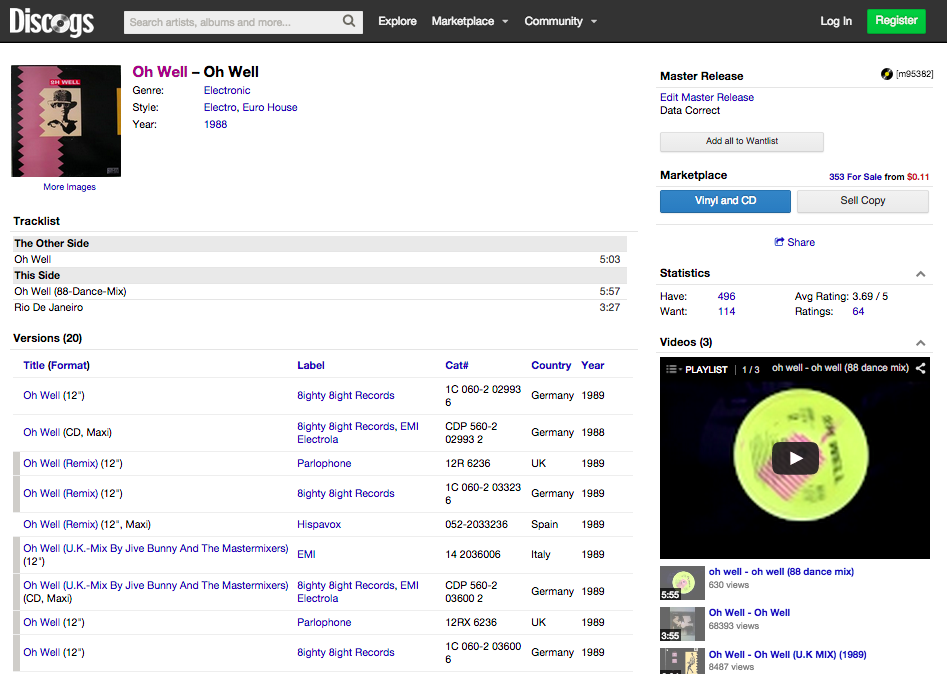 Discogs Single Release Page