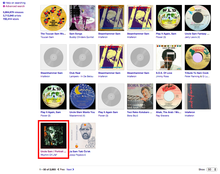 Discogs Sam Search