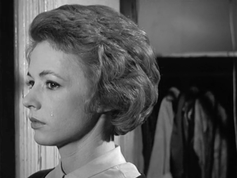 Tear running down the face of Piper Laurie in The Hustler
